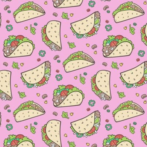 Tacos Food on Magenta Pink Smaller 1,75 inch
