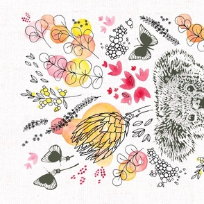 Koala Floral Tea Towel