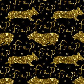 Pembroke Welsh Corgi frap - faux gold