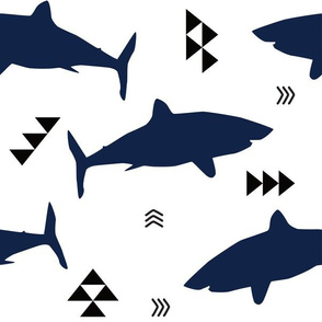 navy shark attack with triangles and arrows