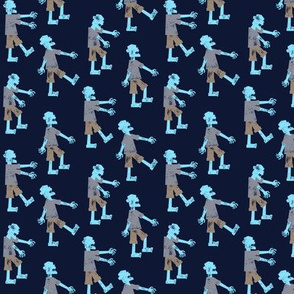 (small scale) Zombie walk - halloween fabric  - blue - LAD19