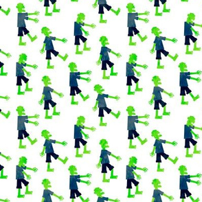 (small scale) Zombie walk - halloween fabric - green - LAD19
