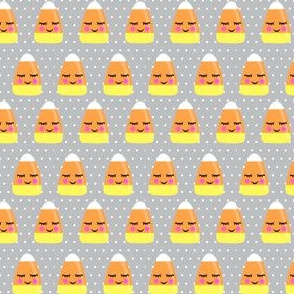 (small scale) cute candy corn - grey polka dots - halloween - LAD19