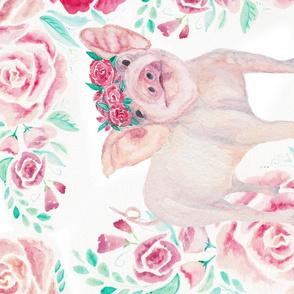 Floral Piggy Tea Towel
