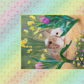 Panel and Tea Towel of Springtime Baby Rabbits