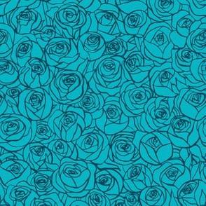 ranunculus floral - teal