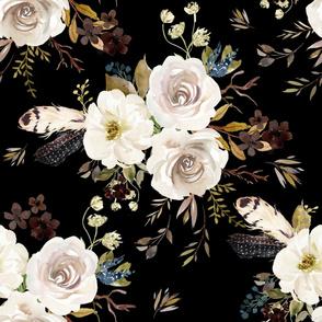 """36"""" Autumn Harvest Flowers - Black"""