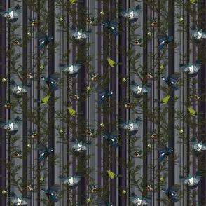 Bird repeat denim stripe