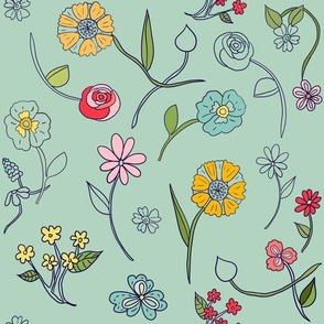 Hand-drawn Flowers Mint