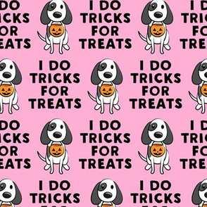 I do tricks for treats - dog halloween - pink - LAD19