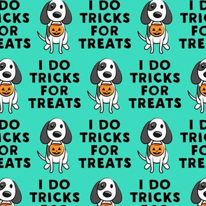I do tricks for treats - dog halloween - teal - LAD19