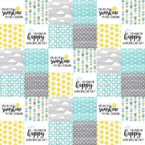 3 inch  Watercolor You are my sunshine//Yellow, Turquoise - Wholecloth Cheater Quilt