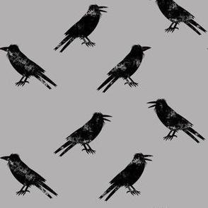 Ravens on grey - halloween - LAD19