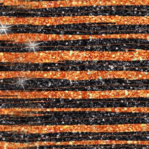 Halloween Glitter stripe orange black