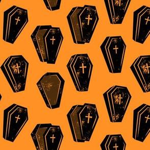 Halloween Coffins - Black on orange - LAD19
