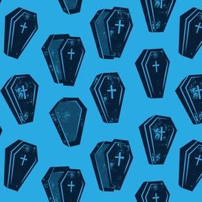 Halloween Coffins - blue - LAD19