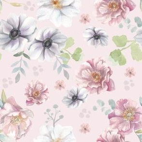 Dusty Rose Watercolour Floral