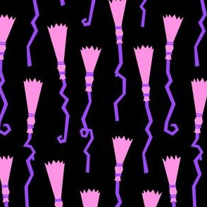 Witches Brooms - pink & purple on black - halloween - LAD19