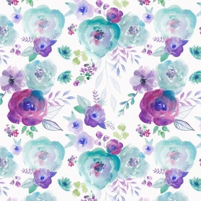 Teal and Purple Watercolour Floral