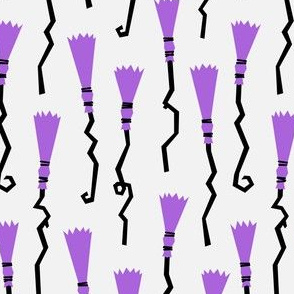 Witches Brooms - purple on light grey - halloween - LAD19