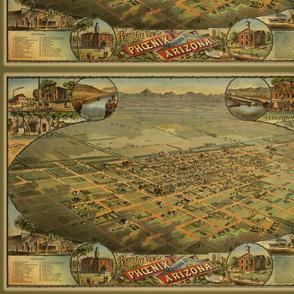 Antique birdseye view map of Phoenix AZ, small
