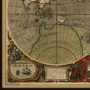 Antique bold world map, large