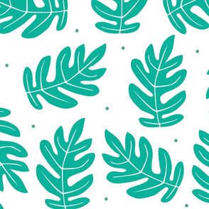 Tropical Leaves - Teal on White