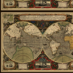 Antique bold world map, small, FQ