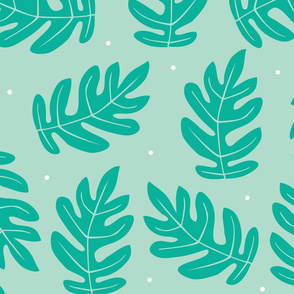 Tropical Leaves - Teal on Blue