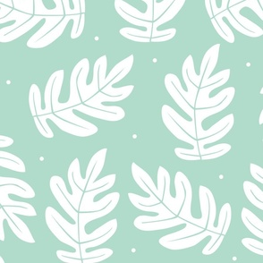 Tropical Leaves - White on Blue