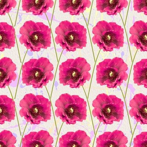 Bright Pink Poppies Floral Pattern