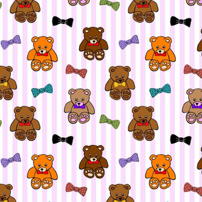 Brownie the Bear & Friends LOVE Bow Ties - pink candy stripes