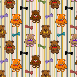 Brownie the Bear & Friends LOVE Bow Ties - on trend stripes