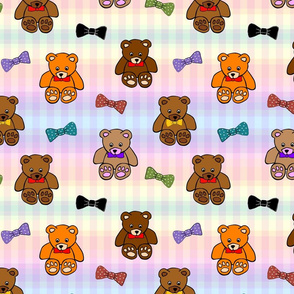 Brownie the Bear & Friends LOVE Bow Ties - pastel gingham