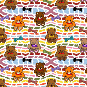 Brownie the Bear & Friends LOVE Bow Ties - basket weave