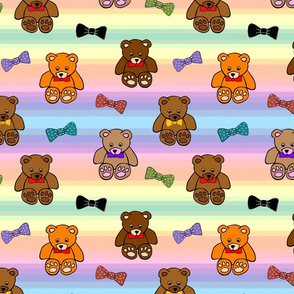 Brownie the Bear & Friends LOVE Bow Ties - rainbow