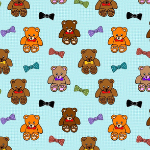 Brownie the Bear & Friends LOVE Bow Ties - blue spots