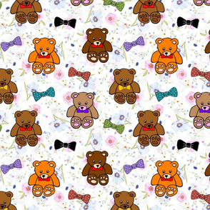 Brownie the Bear & Friends LOVE Bow Ties - pretty floral