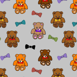 Brownie the Bear & Friends LOVE Bow Ties - silve grey