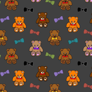 Brownie the Bear & Friends LOVE Bow Ties - charcoal grey