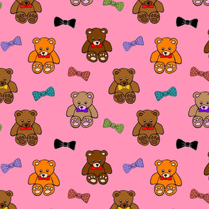 Brownie the Bear & Friends LOVE Bow Ties - strawberry pink