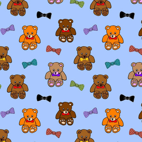 Brownie the Bear & Friends LOVE Bow Ties - sky blue