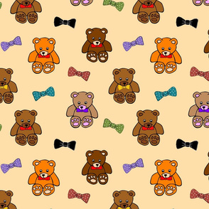 Brownie the Bear & Friends LOVE Bow Ties - honey beige