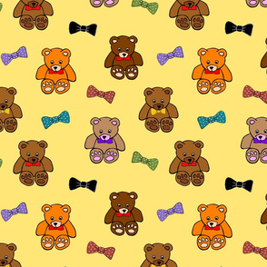 Brownie the Bear & Friends LOVE Bow Ties - yellow sunshine