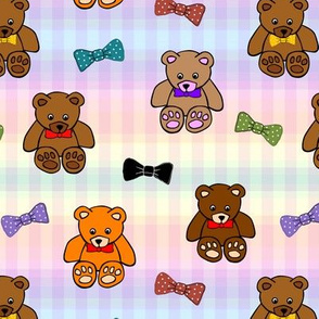 Brownie the Bear & Friends LOVE Bow Ties - pastel gingham (small)