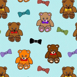 Brownie the Bear & Friends LOVE Bow Ties - blue spots (small)
