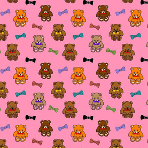 Brownie the Bear & Friends LOVE Bow Ties - strawberry pink (small)