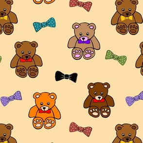 Brownie the Bear & Friends LOVE Bow Ties - honey beige (small)