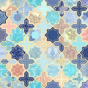 Navy, Peach and Aqua Moroccan Tile Pattern - small