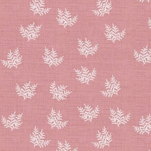 Feathery Fern Closer Rose Pink Linen